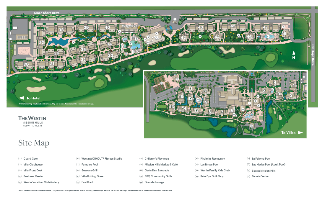 The Westin Mission Hills Resort Villas, Palm Springs Resort Map