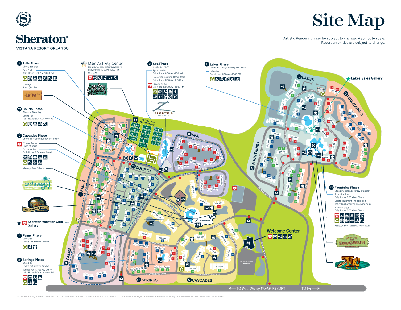 Ideas For Guest Bedroom Sheraton Vistana Resort Resort Map