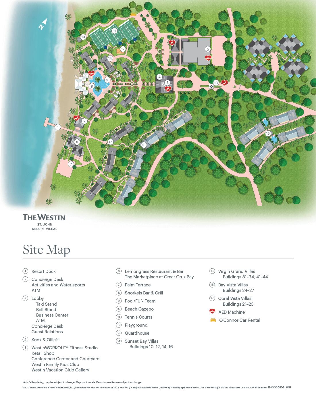 The Westin St John Resort Villas Map