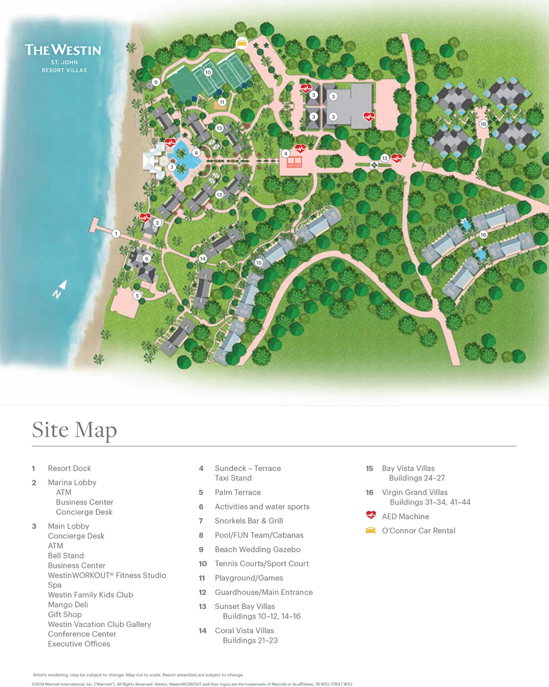 The Westin St. John Resort Villas Resort Map