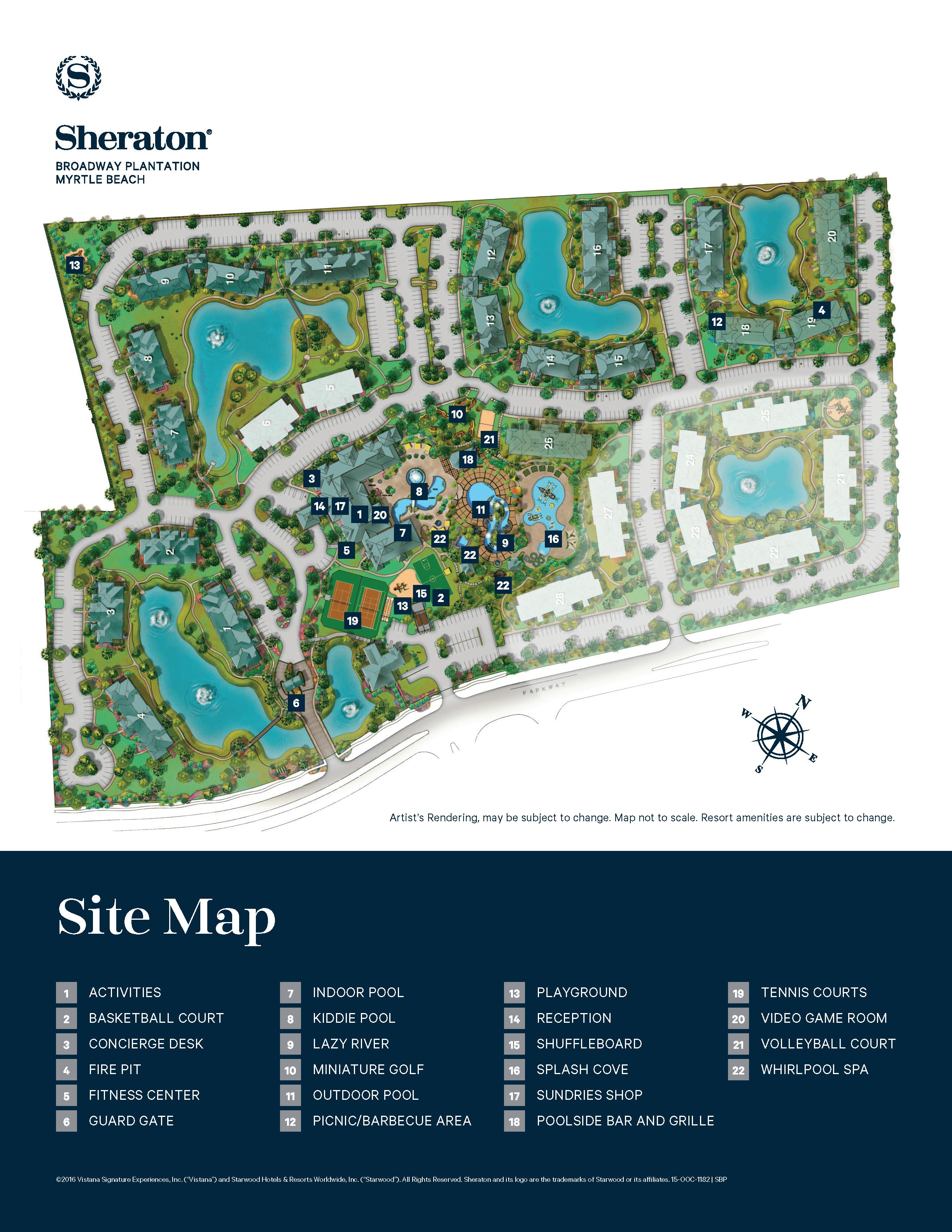 Sheraton Broadway Plantation Resort Map