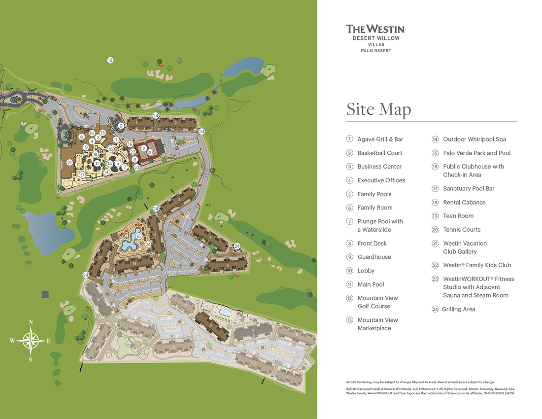 The Westin Desert Willow Villas, Palm Desert Resort Map