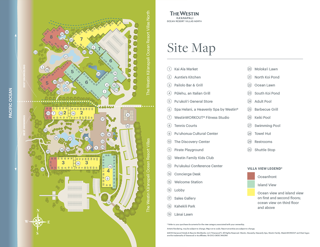The Westin Kā'anapali Ocean Resort Villas North Resort Map