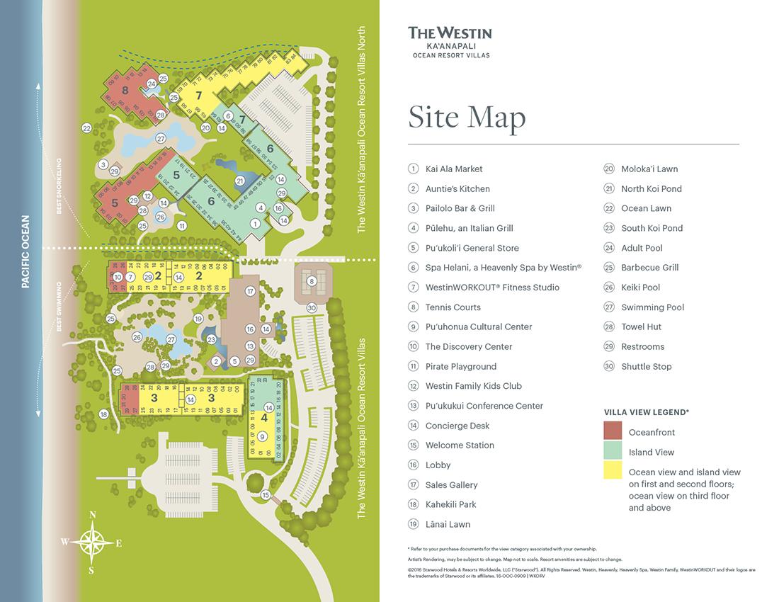The Westin Ka Anapali Ocean Resort Villas Map