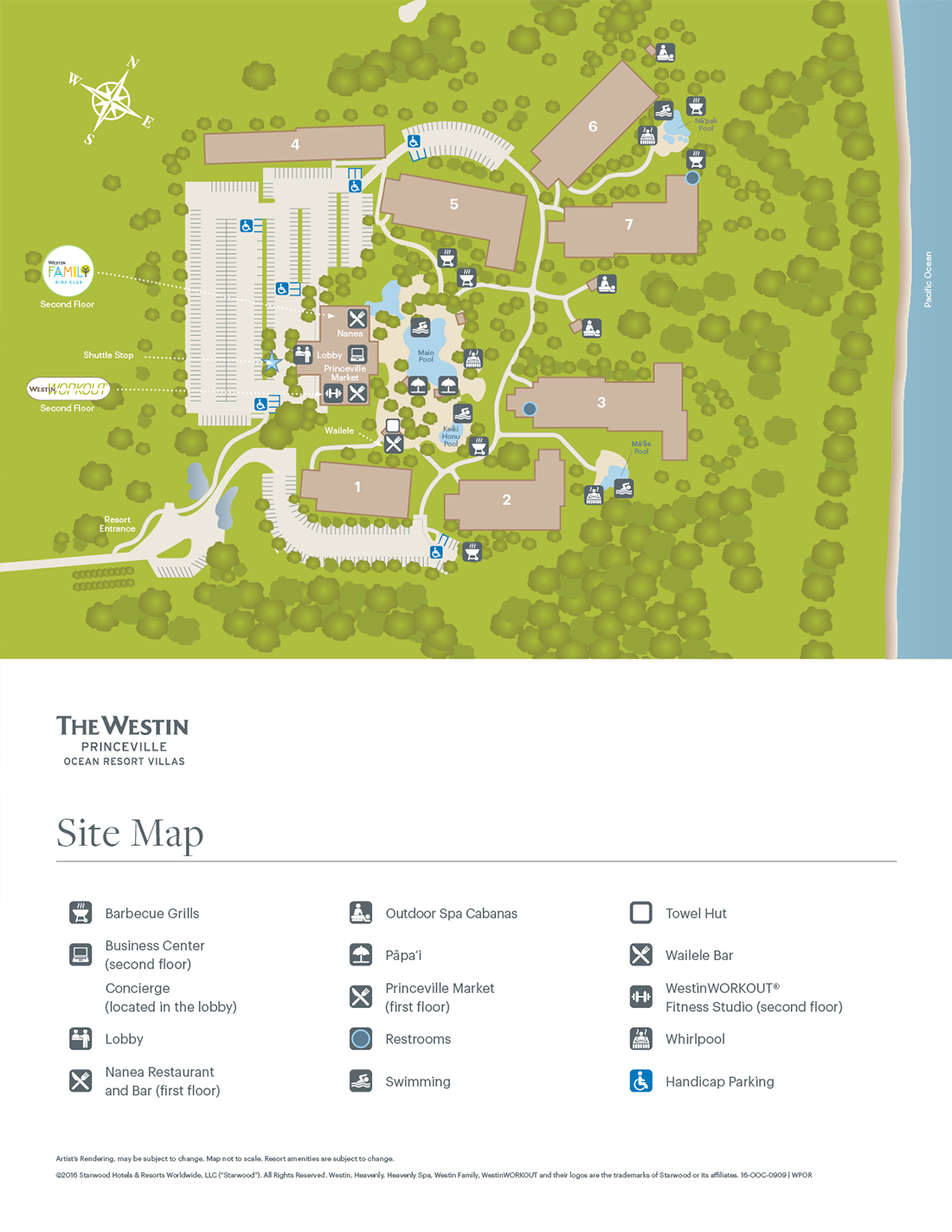 The Westin Princeville Ocean Resort Villas Resort Map