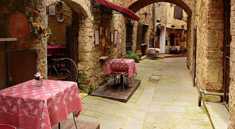 Outdoor restaurant in Tuscany, Italy