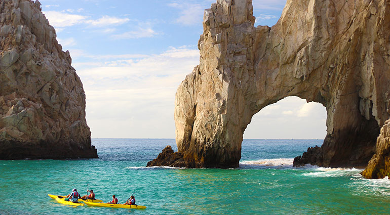 Kayaking near the iconic Arch of Cabo San Lucas, Mexico