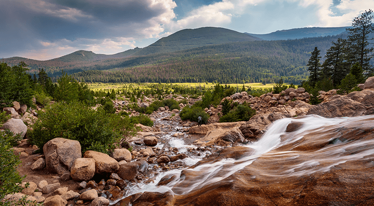 Flowing water at Rocky Mountain National Park
