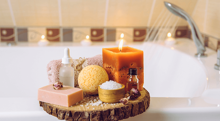 spa amenities on bathtub
